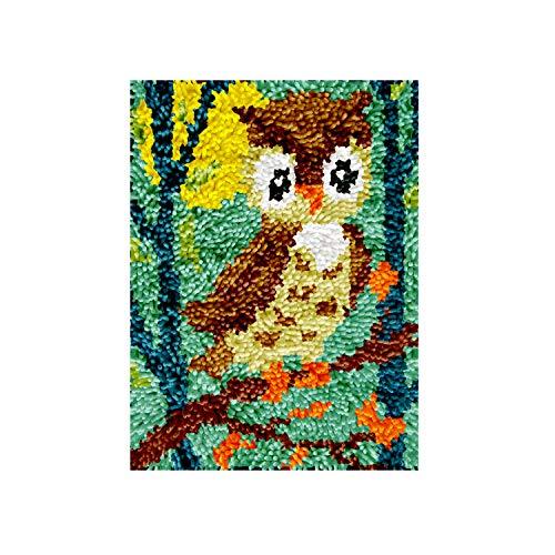 DIY Latch Hook Rug Kits, Kit de Ganchillo Alfombras para Adultos, Alfombras de Crochet Bordados en Punto de Cruz con Lienzo Impreso-Búho 30x35 cm
