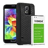 YISHDA - Batería de repuesto para Samsung Galaxy S5 (6100 mAh, con tapa trasera y funda protectora) para teléfono I9600 G900F G900V G900T G900A