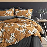 Eikei Almond Tree Blossom Floral Duvet Cover Chinoiserie Chic Style Blooming Trees Vines and Branches Long Staple Cotton 3pc Bedding Set Asian Garden (Ocher, King)