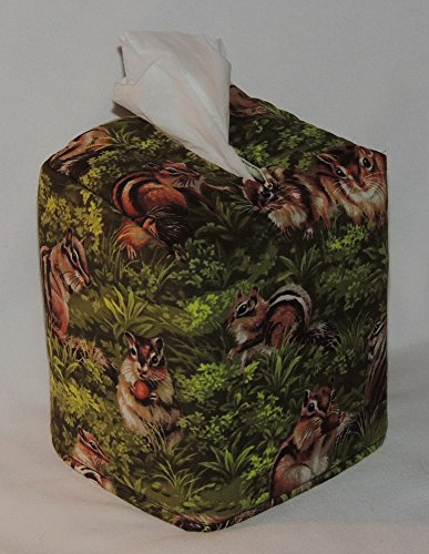 """FREE SHIPPING! 5"""" x 5"""" x 6"""" Tissue Box Cover. Chipmonks Galore! Fabric is Fully Lined. Hand Made."""