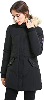 Women's Padded Jacket, Ladies Long Thicken Parka Faux Fur Down Alternative Winter Outwear Warm Overcoat XS-XXL