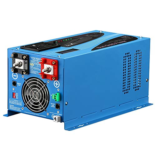 SUNGOLDPOWER 1000W Peak 3000W Pure Sine Wave Power Inverter DC 12V AC 120V with Battery AC Charger Solar Wind Power Inverters LCD Display Low Frequency Solar Converter