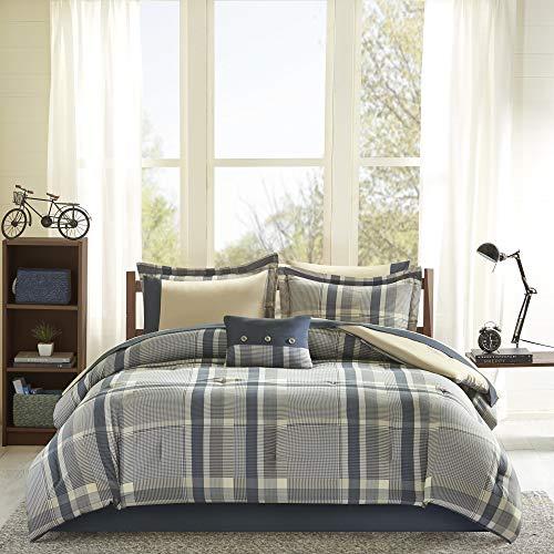 Intelligent Design Robbie Full Size Bed Comforter Set Bed in A Bag - Blue Navy, Plaid - 9 Pieces Bedding Sets - Ultra Soft Microfiber Bedroom Comforters