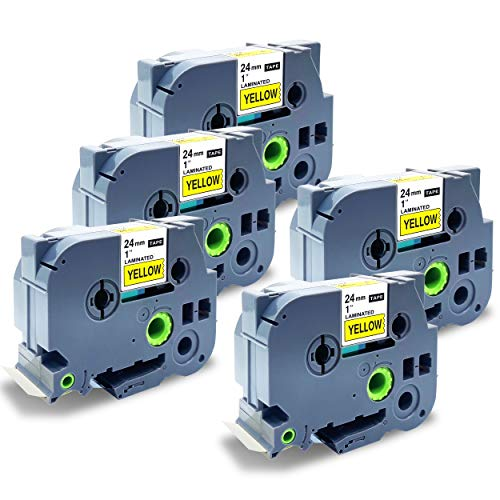 NEOUZA 5PK Compatible with Brother ptouch Label Tape Black on Yellow tze651 tze-651 tz tze 651 1inch