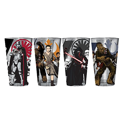 STAR WARS Silver Buffalo SE03P1 Disney Episode 7 Villain Poster Pint Glass Set in Box (4 Pack), 16 oz, Multicolor