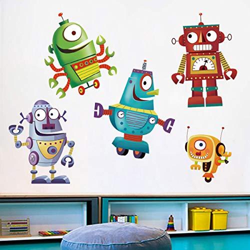 ufengke Cartoon Robot Wall Stickers DIY Removable Vinyl Wall Decals Art Decor for Kids Boys Nursery Bedroom Playroom