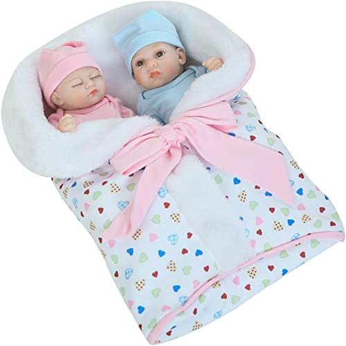 0Miaxudh 26cm wiedergeboren Puppe, Vinyl silikon Reborn Twins Baby Puppe mit Decke, Kinder begleiten Spielzeug