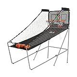 Homcom Panier de Basket Pliable Jeu de Basketball Arcade Double Shootout Double Panier Compteur électronique 4 Ballons et Pompe Acier Noir et Blanc