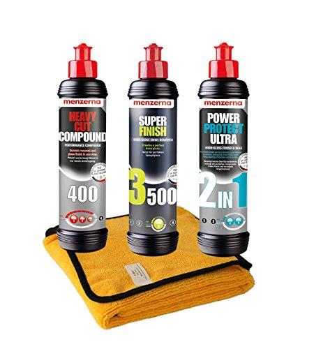 Craft-Equip Menzerna 400 + 3500 + Ultra 2in1 + Microfasertuch Politur Schleifpaste Set-MENZ2