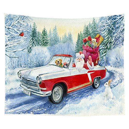 KHKJ Tapiz con Estampado de árbol de Navidad para Colgar en la Pared, decoración de Tela, Tapiz Rojo de Papá Noel, decoración de la Pared de la habitación del hogar, A5 230 * 180 cm