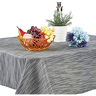 Topmail Elegant Square Dark Grey Tablecloth 100% Microfiber Thick Table cloth Waterproof Dining Table Linen Cover for Kitchen Dining Room (140x140cm/55x55inch, Grey)