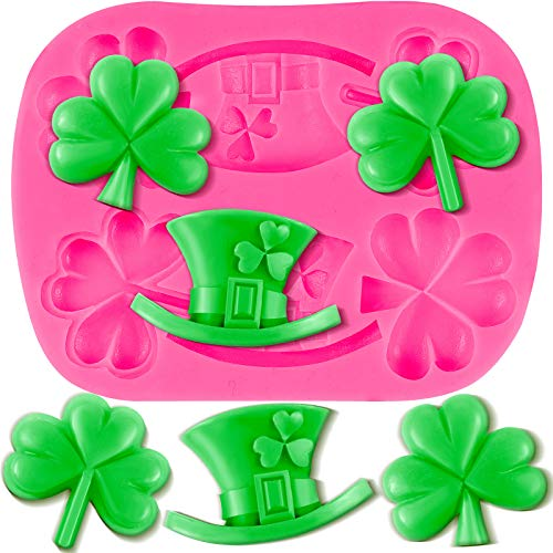Shamrocks Silicone Mold St Patrick's Day Silicone Mold Irish Hat Silicone Mold Irish Baking Mold in Pink for DIY Chocolate, Cake, Jelly, Pudding, Dessert
