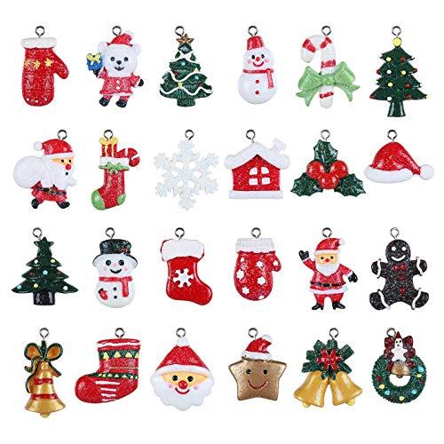 GWHOLE 24 pezzi Christmas Fascino del Pendente Decorazione Natalizia Miniatura di Resina di Natale Babbo Natale albero di Natale Fiocco di Neve per l'ornamento della Decorazione di Natale DIY Craft