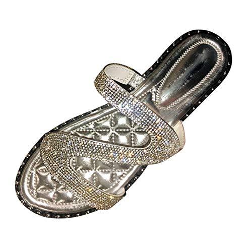 Fomino Hausschuhe Damen Mode Sexy Rom Sandalen Pailletten Sandalen Blinkende Flat Sandal Offene Schuhe Pantoffeln Indoor Outdoor Freizeit Sandalen Damenschuhe Strandschuhe