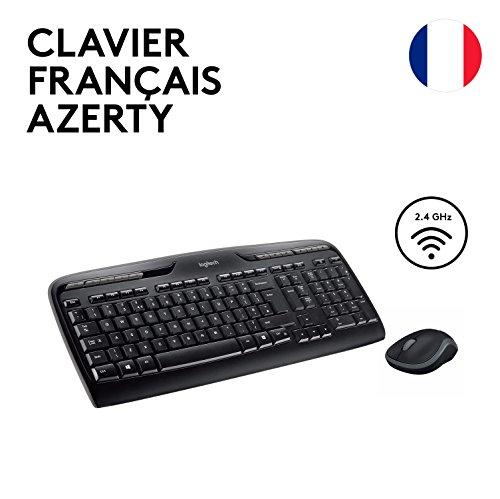 Logitech MK330 Kabelloses Tastatur-Maus-Set, 2.4 GHz Verbindung via Unifying USB-Empfänger, 4 programmierbare G-Tasten, 12 bis 24-Monate Batterielaufzeit, PC/Laptop, Französisches AZERTY-Layout