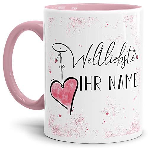Tasse mit Spruch für die Weltliebste -Name- Personalisierbar/Individuell/Familie/Geschenk-Idee/Innen & Henkel Rosa