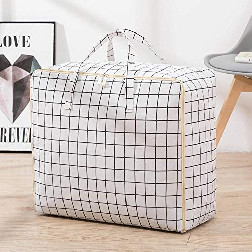 JXX Storage Bags With Zips Clothing Storage Bag Pillow Quilt Blanket Portable Clothes Suitcase Folding Closet Organizer-Xxl 70X30X50Cm_White Plaid