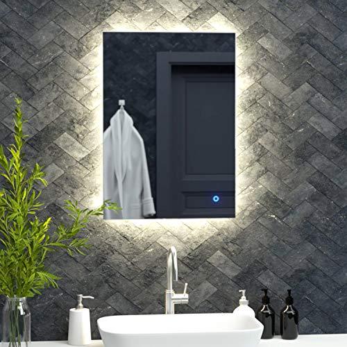 Pebble Grey Savannah Illuminated LED Bathroom Mirror with Touch Sensor Switch | Rotation Ready | 500 x 700 | IP44 Rated | 10 Year Guarantee