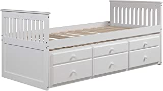 LZ LEISURE ZONE Kids Captain's Bed Twin Daybed with Trundle Bed and Storage Drawers (White, Twin)