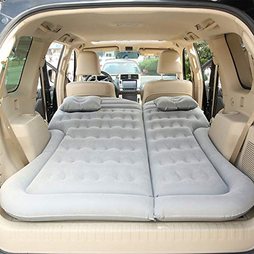 Camping Air Bed, Car Air Mattress, with Pillow And Air Pump, for Camping Travel Sleeper Car Air Bed Air Cushion,Gray