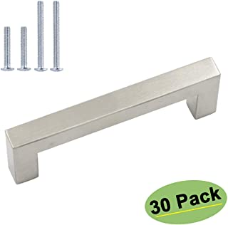 homdiy Brushed Nickel Cabinet Pulls - 30Pack Drawer Handles 4.5 inch Handles for Kitchen Cabinets Furniture Hardware Cabinet Hardware Brushed Nickel Bar Cabinet Pulls LSJ12BSS115