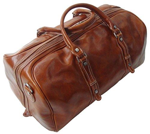 Rivello borsone da viaggio/bagaglio a mano - pelle italiana - marrone chiaro - bagaglio a mano