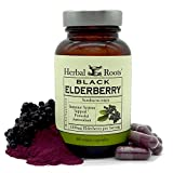 Herbal Roots Black Elderberry Capsules - Extra Strength 4,300mg - Made with Organic Elderberries Sambucus Negras - Immune Support - Vegan and GMO Free - Made in The USA