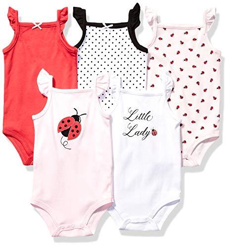 Hudson Baby Unisex Baby Cotton Sleeveless Bodysuits, Ladybug, 0-3 Months