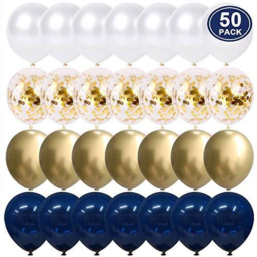 Luftballons Blau Gold Konfetti, 50 Stück 30 cm Weiß ballons für Geburtstags Baby duscht Abschlussfeier-Valentinstag Dekorationen