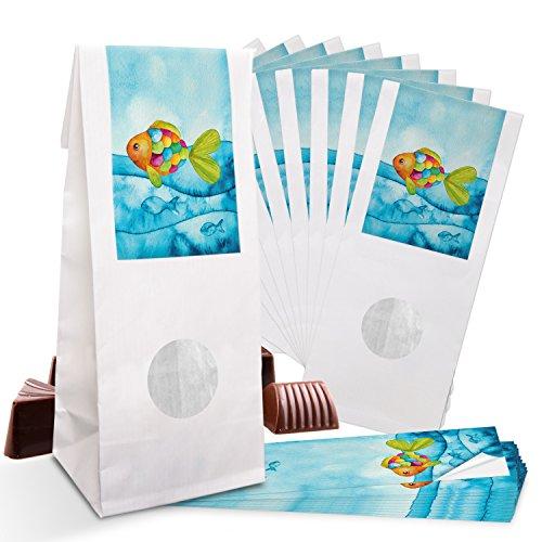 Logbuch-Verlag 25 kleine Gastgeschenk Regenbogenfisch give-away Tischdeko Verpackung Lebensmittel Kommunion Taufe Kinder Geburtstag blau türkis maritim Sommer
