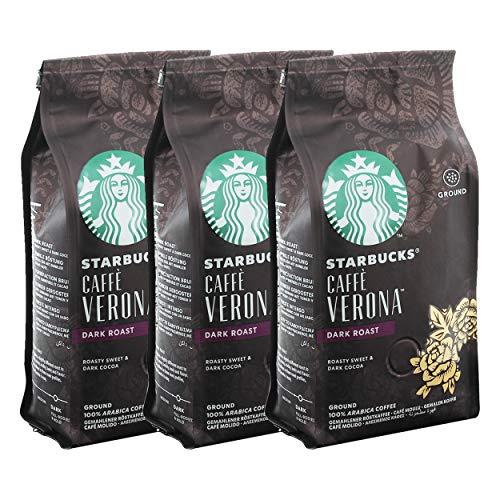 Starbucks Caffè Verona Kaffee, 3er Set, Dark Roast, Röstkaffee, Röstig Süß, Gemahlen, 3 x 200 g