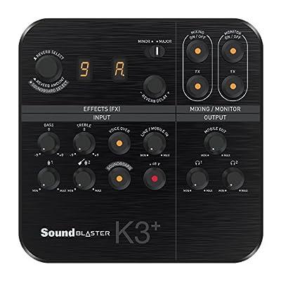 Creative Sound Blaster K3+ USB Powered 2 Channel Digital Mixer AMP/DAC/, Digital Effects XLR Inputs with Phantom Power/TRS/Z Line Inputs