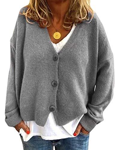 Minetom Damen Bolero Kurze Strickjacke Langarm Cardigan Elegante Jacke V Ausschnitt Pullover Stricken Strickweste mit Knopf Grau 40