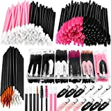 263 Pieces Makeup Applicators Tools Kit, Include 50 Disposable Eyeliner Brushes 100 Mascara Wands Eyelash Brush 100 Lipstick Applicators Lip Wands and 12 Makeup Hair Clips with Plastic Organizer Box