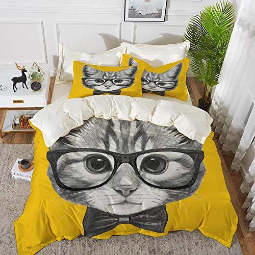 Luoquan Juego de Cama, Microfibra,Animal, Sketchy Hand Drawn Design Baby Hipster Cat Cute Kitten with Glasses Image Print, Mostaza Gris,1 Juego de Funda nórdica 135 x 2002 Fundas de Almohada 50x80cm