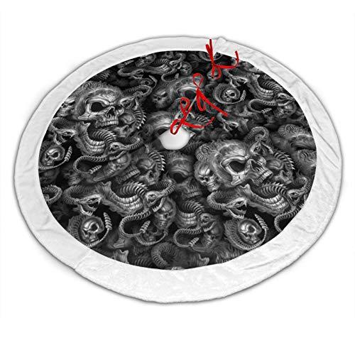 RTBB Weihnachtsbaum-Rock, 121,9 cm, 3D-Heulender Totenkopf und Schlange, weiche Plüschmatte für Weihnachten, Party, Dekoration, Urlaubsdekoration