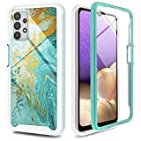 UNPEY for Samsung Galaxy A32 5G Case, Marble Design Cell Phone Case for Samsung Galaxy A32 5G with Built-in Screen TPU Bumper Drop Protection, Green (6.5 inch)