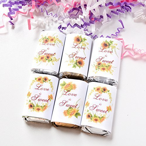 54 Sunflowers Candy Wrappers, Sunflowers Wedding Candy Stickers, Sunflowers Gift Favors, Labels for Hershey® miniatures, Sunflowers Party Favor