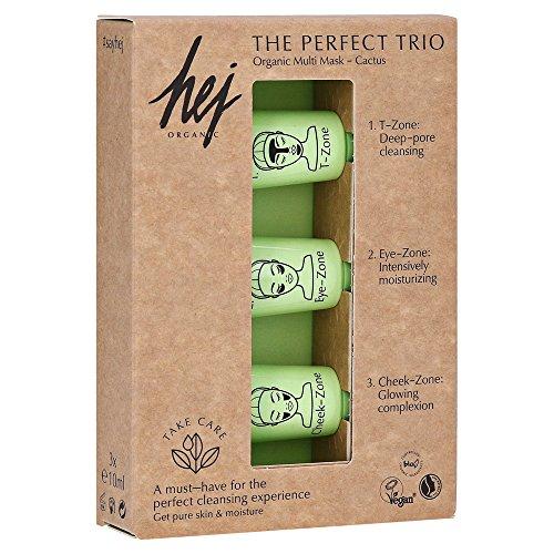 HEJ ORGANIC Multi Mask Naturkosmetik The Perfect Trio 3 x 10 ml Gesichtsmaske fur die Pflege der verschiedenen Gesichtszonen Augenpartie, T-Zone, Wangen Reinigung, Pflege vegan