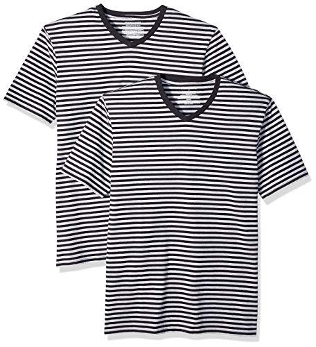 Amazon Essentials T-Shirt für Herren, enge Passform, 2er pack, Schwarz(Schwarz/Light Grau Heather), US S (EU S)