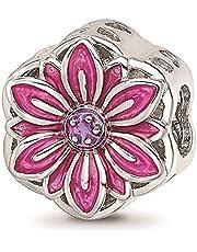 Reflexiones de plata de ley 925 rodiada esmaltada flor recortada joyería regalos para mujeres