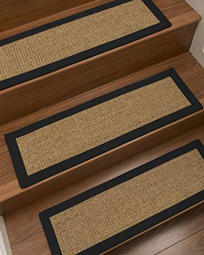 "Natural Area Rugs Gold/Multi Studio DIY Pet Friendly Handmade Sisal Carpet Stair Treads/Rugs Safety Slip Resistant for Kids, Elders, and Dogs. 9"" x 29"" (13), Black Border"