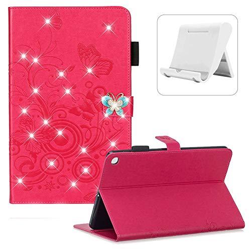 Shinyzone Glitzer Magenta Hülle für Samsung Galaxy Tab S5e SM-T720/SM-T725 mit Stifthalter,[Handy Ständer],3D Schmetterling Diamant PU Leder Schutzhülle mit Auto Schlaf/Wach
