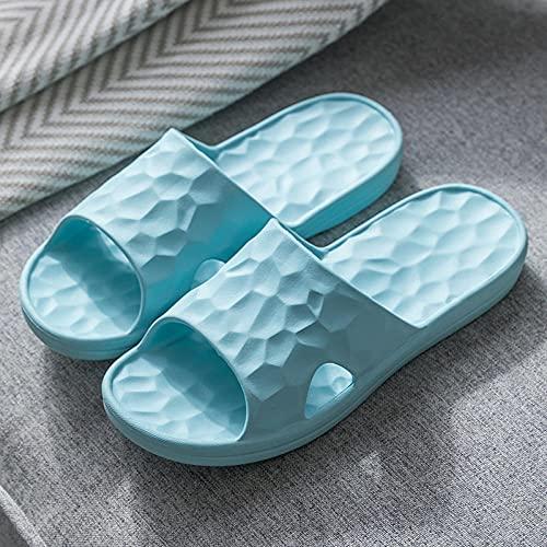 Chanclas Mujer Ducha Playa Zapatillas de baño para Hombre y Mujer, Sandalias de Pareja Antideslizantes para el hogar para Interior, Exterior, baño, Piscina de jardín Azul Claro EU36-37