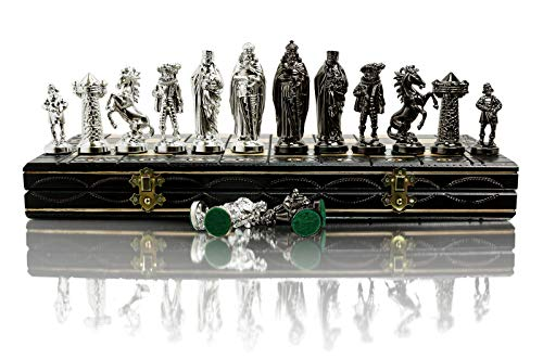 Juego de ajedrez MEDIEVAL CROMADO Tablero de ajedrez de madera de 16 'con adornos y piezas de plástico cromado pesado ... (Plata medieval)
