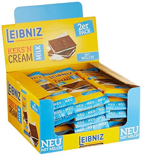 Leibniz Keks´n Cream Milk Schokoriegel 2er - 18er Pack - zwei schokoladige Kakaokekse mit Milchcremefüllung - Thekenaufsteller (18 x 38 g)