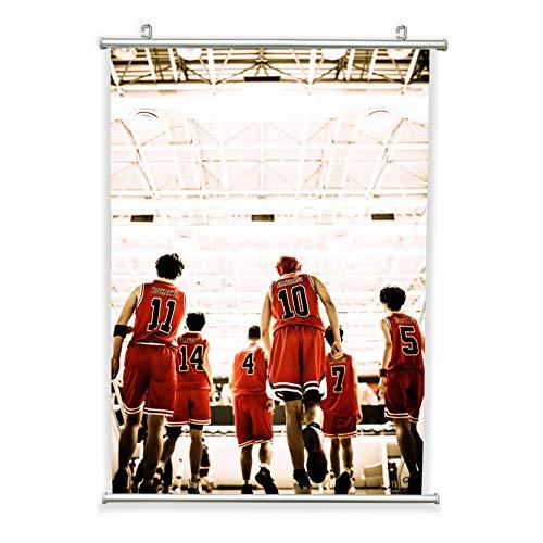 Pôsteres de rolagem de anime Slam Dunk 50 x 71 cm, impressões artísticas de personagens de desenho animado de basquete, pôster de tela para pendurar na parede, presente para fãs de anime com moldura de metal (50 cm L x 71 cm C)