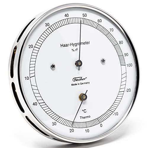 Fischer 111.01T - Haar-Hygrometer mit Thermometer - 103mm Außen-Luftfeuchtigkeitsmesser aus Edelstahl Made in Germany