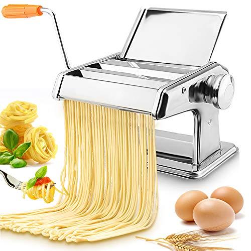 Greensen Nudelmaschine Edelstahl Pastamaker Hand Crank Noodle Maker, Noodles Cutter Spaghetti Maker, Frische Manuell Pasta Walze Maschine Cutter, Pastamaschine Nudel Maschine mit Klemme