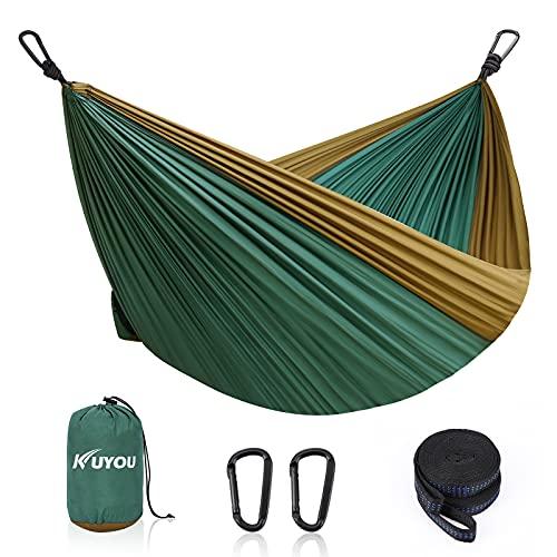 Amaca per esterni, ultraleggera con coperture in corda, portata 300 kg, Hammock (300 x 200 cm), traspirante, in nylon ad asciugatura rapida, per esterni, giardino (verde scuro/marrone)